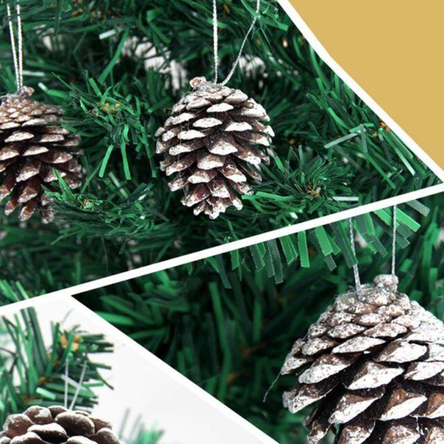 4cm 9X Christmas Gold Pine Cones Baubles Xmas Tree Decorations Ornament Decor BP