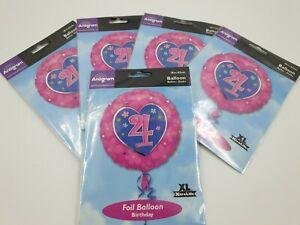"5 Pack 18/"" Round Happy 21st Birthday Foil Helium Party Balloon job lot Unisex"