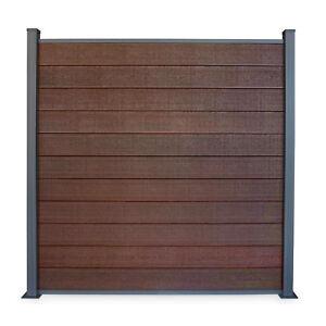 WPC-Sichtschutzzaun-Coex-Eleganz-braun-Gartenzaun-Bausatz-180x183cm-Komplettset