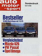Sonderdruck Test VW Passat Mazda 626 Opel Omega ams 11/92 1992 Vergleichstest