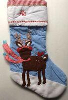 Pottery Barn Kids Christmas Deer Stocking Ma Blue