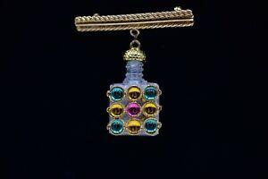 Vintage-Pin-Brooch-Perfume-Bottle-Holder-Gold-Tone-Jeweled-Multi-Color-Bin8