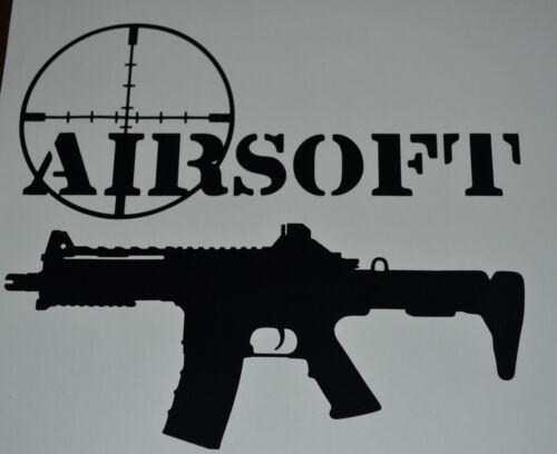 21 CM NERO SOFTAIR target arma combat SPORT AUTO FURGONE VETROFANIA Decalcomania