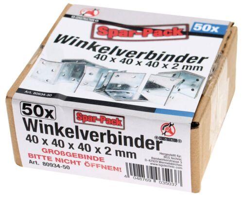 verzinkt 40x40x40 BGS KRAFTMANN 80934-50 Winkelverbinder 50 Stück Spar-Pack