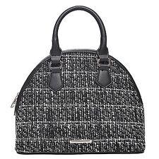 Kleine Damen Handtasche Tweed Bowling Tasche Schwarz Weiss Stoff & Leder Optik