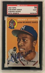Details About 1954 Topps Hank Aaron 128 Rookie Card Rc Auto Sgc 9 50 Autographed