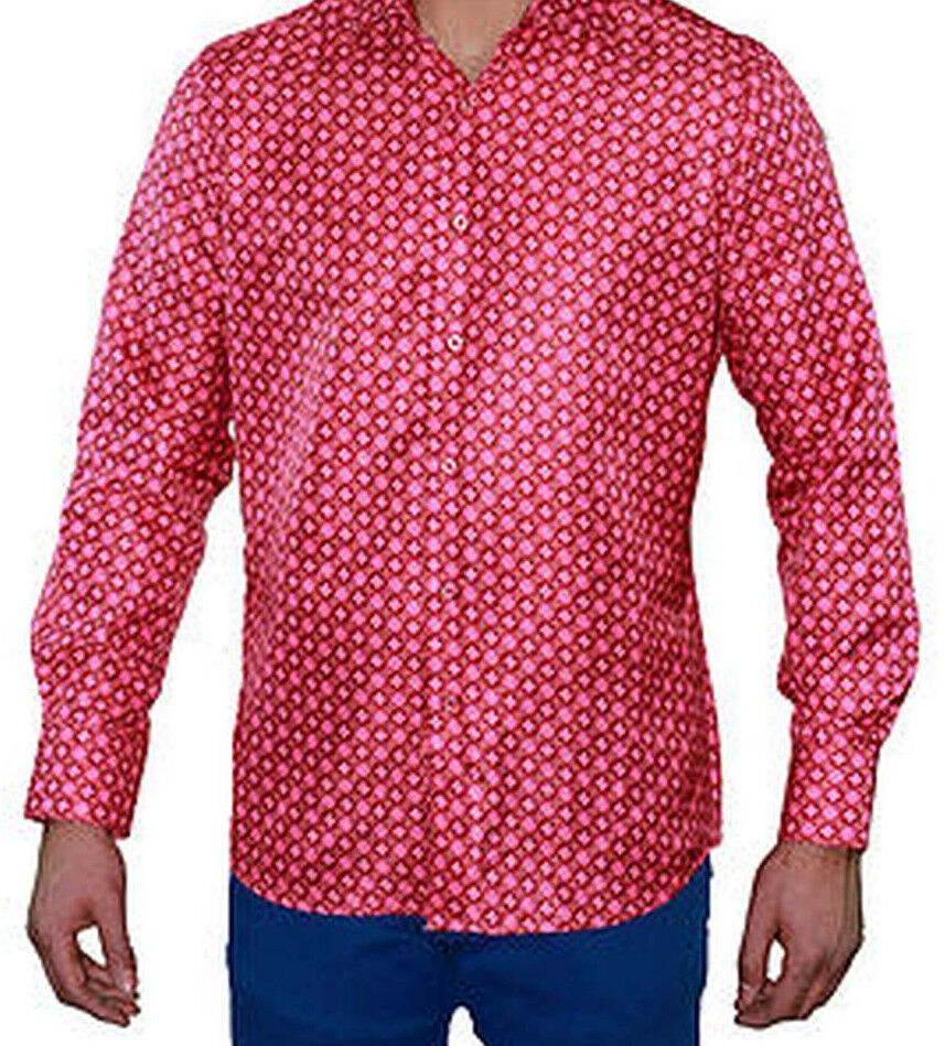 Suslo Couture M-20 Mens Multi Pink Fun Polka Dot Slim Fashion Lightweight Shirt