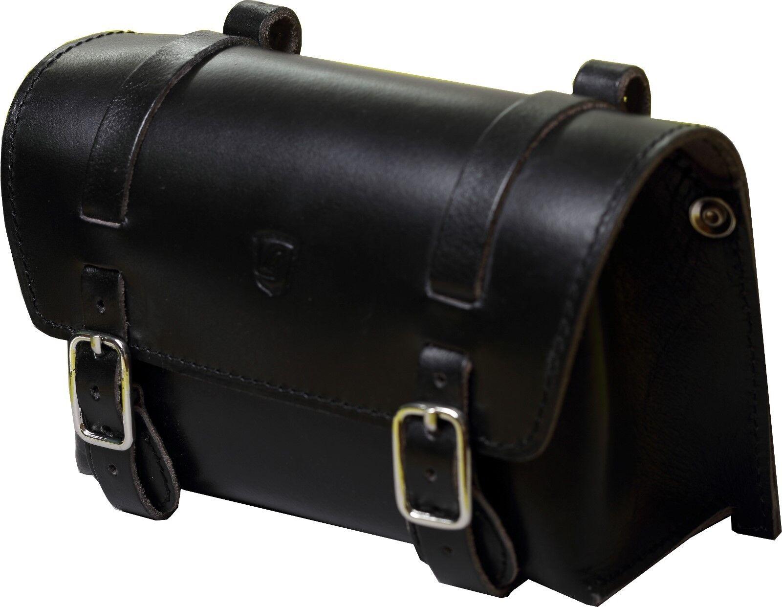 Brave classique Sacoche de selle cuir de buffle black grand
