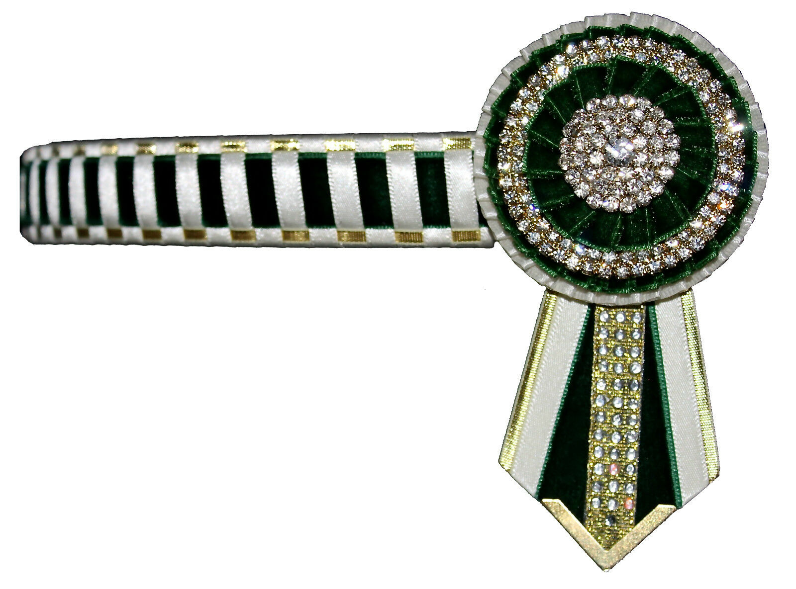 Show browband green bling diamante showing pony cob full Crystal Show Browbands