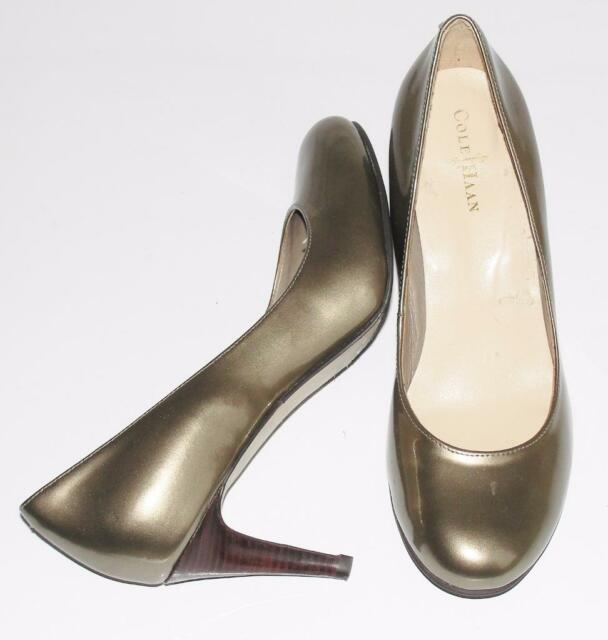 """COLE HAAN~METALLIC~PATENT LEATHER~ROUND TOES~3"""" STACKED HEELS PUMPS SHOES~6.5"""