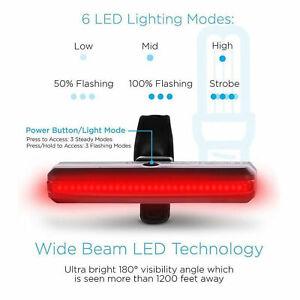 COB-USB-LED-Bicyclette-Velo-Velo-Velo-Avant-Arriere-Feu-Arriere-6-Modes-Lampe