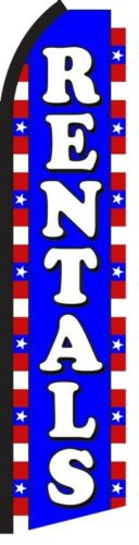 RENTALS Red White Blue Rent Me Swooper Flag Tall Vertical Feather Banner Sign