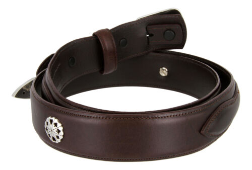"""1-3//8/"""" Wide Oil Tanned Concho Leather Casual Ranger Belt Five Card Stud Poker"""