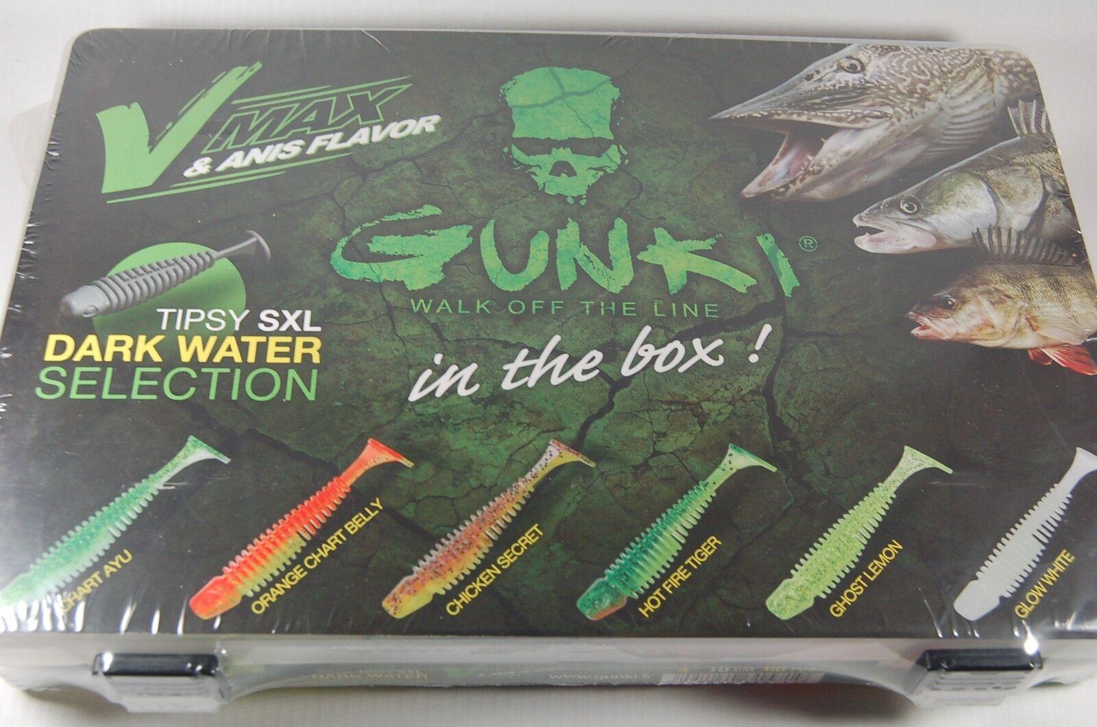 Gunki Tipsy SXL Dark Water Kit Boxt Gummifisch alle Größen trübes Wasser