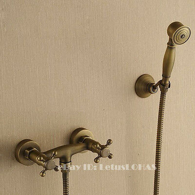 Antique Brass Bathroom Shower Tap Hand Shower Faucet Mixer Set 2137