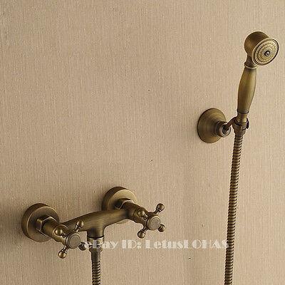 Antique Brass Bathroom Shower Tap Hand Shower Faucet Mixer Set 2137