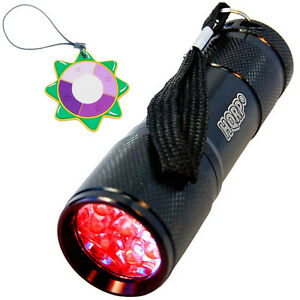 Hqrp-Lumiere-Rouge-Led-Noir-Lampe-Torche-Chasse-Torche-Interrupteur-Pression