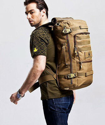 50L Outdoor Military Tactical Backpack Hiking Camping daypack shoulder Bag Khaki