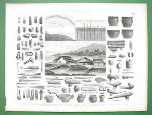 STONE-AGE-Artifacts-Huts-Italy-Switzerland-Antique-Print-Engraving