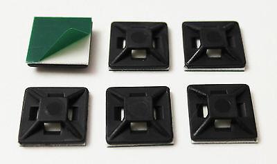 10 Stück Klebesockel 19x19mm SCHWARZ  UV-Beständig selbstklebend Kabelhalter