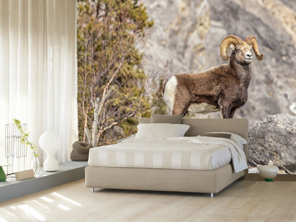 3D Mountains Sheep Wall Paper wall Print Decal Wall Deco Indoor wall Mural