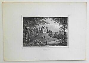 Rosenau-Schloss-Sachsen-Coburg-Original-Stahlstich-von-L-Rohbock-1870