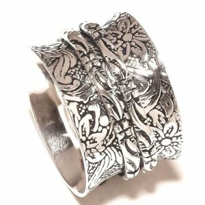 Solid-925-Sterling-Silver-Spinner-Ring-Meditation-Statement-Ring-Size-sr24490
