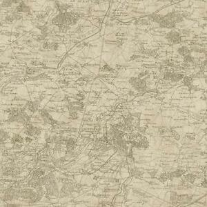 Wallpaper-Old-World-Vintage-French-Map-Kahki-on-Beige