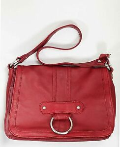 St Johns Bay 70s style red soft leather satchel