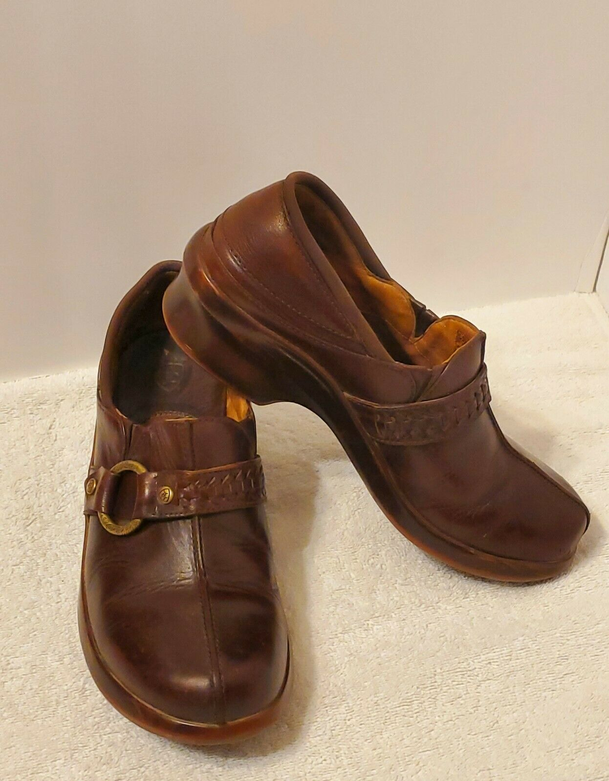 Ariat Brown Leather Braided Buckle Strap Womens 9.5B Slip-on Clog Shoes #94317