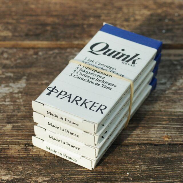 4x5 Tintenpatronen / Ink Cartridges ** PARKER QUINK SOLV-X PERMANENT BLAU / BLUE