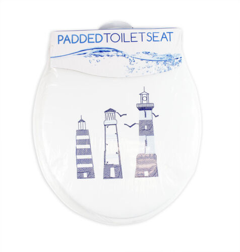 Soft Padded Toilet Seat With Embroidered Design /& High Density Foam Cushioning