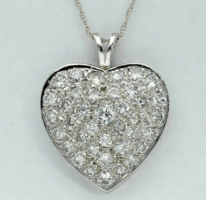 1-55-CT-Diamond-Heart-Pendant-Necklace-14K-White-Gold-GP-Round-Brilliant-Cut