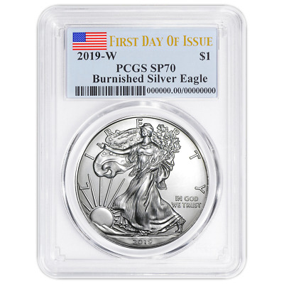 2019-W Burnished $1 American Silver Eagle PCGS SP70 FDOI Flag Label