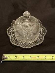 Vintage-Avon-Domed-Lid-Crystal-Clear-Glass-Covered-Butter-Cheese-Dish-Fostoria