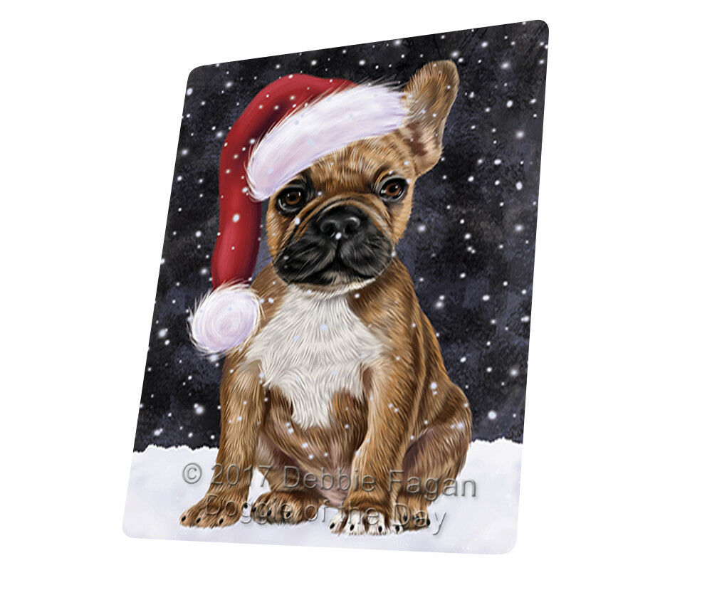 Let it Snow Christmas Holiday French Bulldogs Dog Woven Throw Sherpa Blanket T82