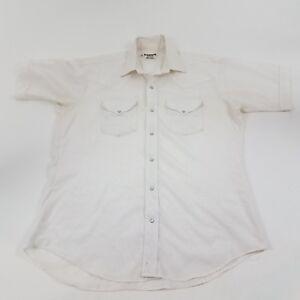 Ruddock-Shirts-western-pearl-snap-white-shimmer-M-L-short-sleeve-cowboy-vtg