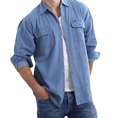 Men/'s Classic Long Sleeve Button Up Casual Blue Jeans Shirt Denim Dress New