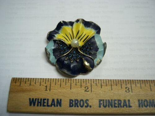 Vintage Blue Yellow Rhinestone Pearl Enamel Pansy… - image 1