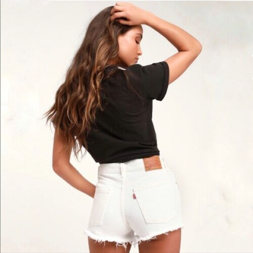 Levi's 501 Distressed White Denim Button Fly Short