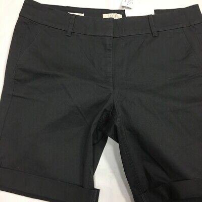 NWT Lee Mid Rise Fit Stretch Bermuda Shorts 10P 12P Black Petites