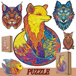 Wooden Cartoon Animal Design Adult/&Kids Toy Decor Puzzle Jigsaw Pieces 2020 Hot
