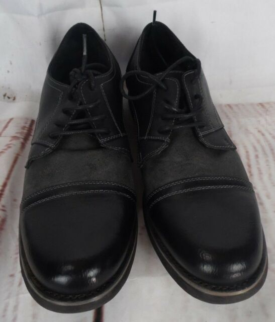 7b828113653 Steve Madden Mens Lace Up Cap Toe Oxford Shoes Gray Black Catalyst US 10 M  Z11