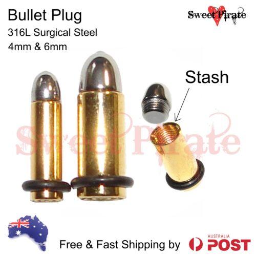 1pc Steel Screw Bullet Tunnel Expander Stretcher Ear Plug Piercing Earring Stash