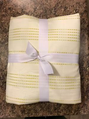 West Elm Dotted Stripe King Cal King Duvet Cover White Yellow