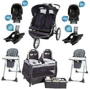 Baby Boy Double Stroller 2 Car Seats Two High Chairs Playard For