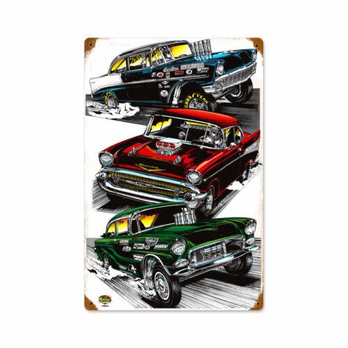VINTAGE METAL GARAGE MANCAVE SIGN Triple Dragster 12 x 18