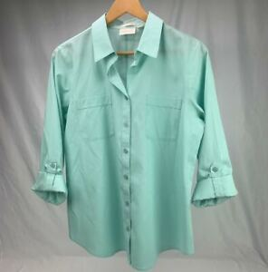 Chicos-button-up-shirt-blouse-Womens-1-Mint-large-roll-tab-long-sleeve-top-sz-1