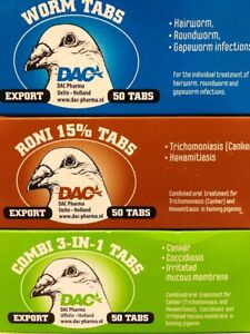DAC RONI 15% WORM COMBI 50 TABS PIGEON WORMER CANKER COCCIDIOSIS TRICHOMONIASIS