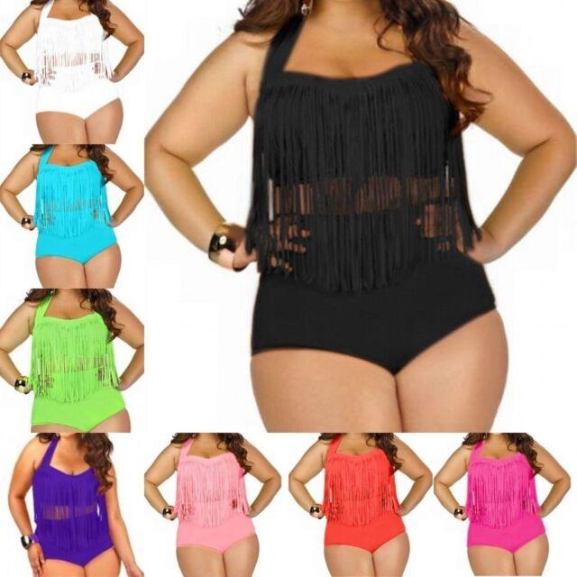 Women's Chubby Plus Size Tassel Bikini 2 piece Set Beach Bathing Suits Swimwear